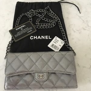 Pewter Chanel Continental Wallet